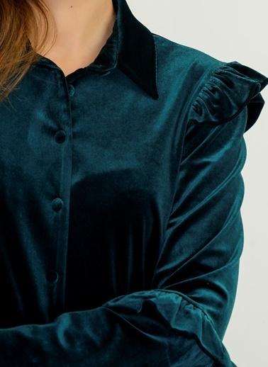 Volanlı Kadife Gömlek-People By Fabrika